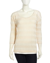 Neiman Marcus Mesh Knit Striped Sweater Tan Ivory