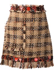 Msgm Tweed Mini Skirt Brown