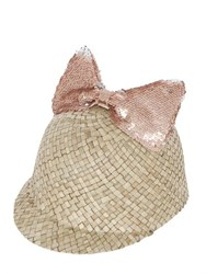 Federica Moretti Minu' Straw Hat With Sequined Bow
