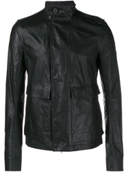 Rick Owens Leather Army Jacket Black