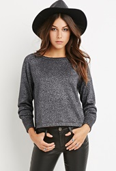 Forever 21 Metallic Knit Sweater Black Silver