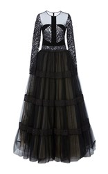 Georges Hobeika Tiered Long Sleeve Gown Black