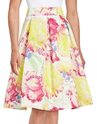 Eliza J Printed A Line Skirt Yellow Pink