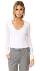 Atm Anthony Thomas Melillo Long Sleeve V Neck Bodysuit White
