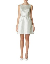 Erin Fetherston Metallic Fit And Flare Dress Silver Ivory