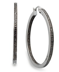 Macy's Sterling Silver Earrings Black Diamond Hoop Earrings 1 2 Ct. T.W.