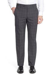 Zanella Men's 'Devon' Flat Front Plaid Wool Trousers Medium Grey