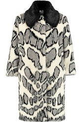 Ainea Printed Faux Fur Coat White