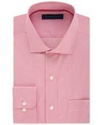 Tommy Hilfiger Men's Classic Fit Non Iron Cayenne Gingham Dress Shirt