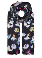 Lily And Lionel Renee Navy Floral Print Silk Scarf Multicoloured