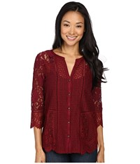 Lucky Brand Lace Mix Top Wild Currant Women's Clothing Red