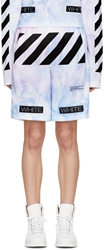 Off White Ssense Exclusive Blue And Purple Tie Dye Shorts