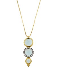 Freida Rothman Two Tone Pave Aqua Crystal Pendant Necklace Women's