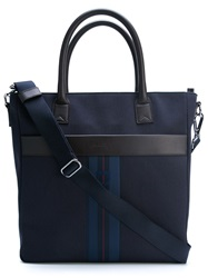 Salvatore Ferragamo Striped Gancio Tote Blue