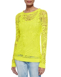 Ralph Lauren Black Label Clancy Floral Crochet Top Chartreuse