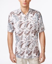 Tasso Elba Men's Lineage Floral Print Short Sleeve Shirt Only At Macy's White Combo