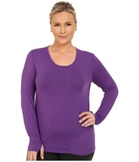 Terramar Plus Size Cloudnine Performance Long Sleeve Scoop W8214w Purple Rain Women's Long Sleeve Pullover
