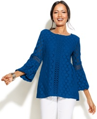 Alfani Petite Crochet Trim Lace Tunic Cobalt Sea