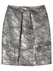 Precis Petite By Jeff Banks Metallic Jacquard Skirt Metallic Silver