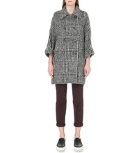 Brunello Cucinelli Double Breasted Checked Wool And Alpaca Blend Coat Black White