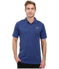 Nike Tiger Woods Vl Max Swing Knit Heather Game Royal Midnight Navy Reflective Silver Men's Short Sleeve Pullover Blue