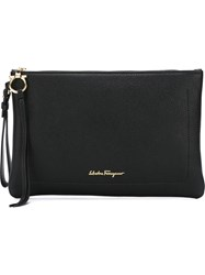 Salvatore Ferragamo Zipped Clutch Black