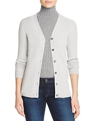 Bloomingdale's C By Ribbed Cashmere Cardigan Frost
