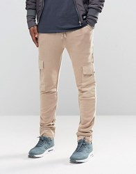 Asos Skinny Joggers With Cargo Pockets In Stone Stone Beige