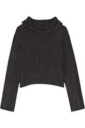 The Elder Statesman Cropped Hooded Cashmere Sweater Charcoal