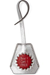 Anya Hindmarch Buy 1 Get 1 Free Metallic Textured Leather Keychain Silver