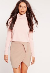 Missguided Origami Wrap Scuba Mini Skirt Nude Mauve