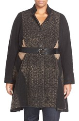Plus Size Women's Nic Zoe 'Textured Twirl' Belted Knit Coat