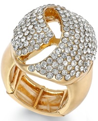 Inc International Concepts Gold Tone Crystal Dome Stretch Ring