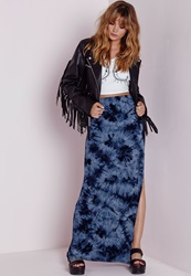 Missguided Tie Dye Split Maxi Skirt Navy Blue