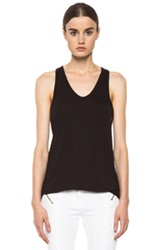 T By Alexander Wang Classic Linen Silk Tank With Pocket In Black