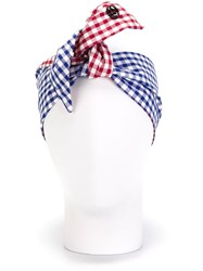 Maison Michel Gingham Knot Headband Blue