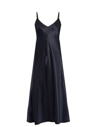 Helmut Lang Ruffle Back Silk Satin Cami Dress Navy