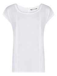 Sandwich Contrast Panel T Shirt Optical White