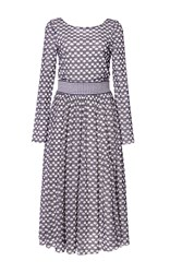 Tanya Taylor Checked Floral Mesh Petra Dress Blue