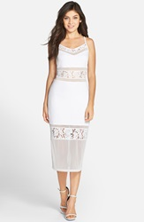 French Connection 'Lucky Layer' Lace Inset Body Con Midi Dress Summer White