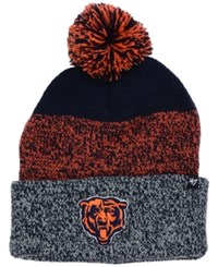 47 Brand '47 Chicago Bears Static Cuff Pom Knit Hat Navy Orange Gray