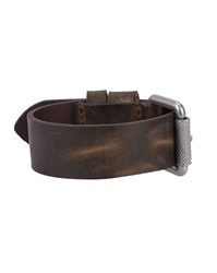 Diesel Dark Brown Hirruca Fight Leather Logo Bracelet