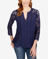 Lucky Brand Three Quarter Sleeve Lace Blouse Eclipse
