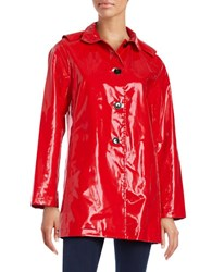 Jane Post Hooded Raincoat Red