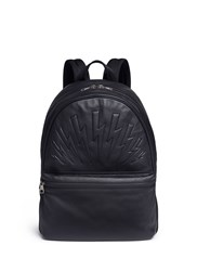 Neil Barrett Thunderbolt Embossed Leather Backpack Black