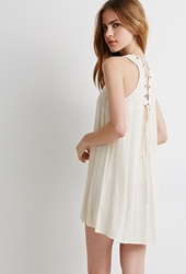 Forever 21 Lace Up Crepe Tunic Cream