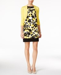 Jessica Howard Petite Bolero Shrug Cardigan And Printed Sheath Dress Med Yellow