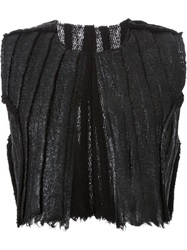 Simona Tagliaferri Cropped Distressed Gilet Black