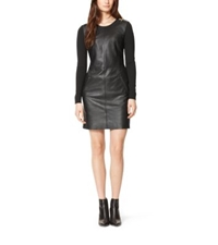 Michael Kors Structured Crepe Paneled Leather Dress Black