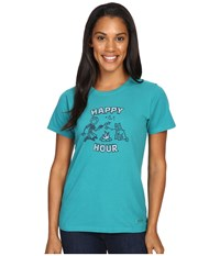 Life Is Good Happy Hour Roast Crusher Tee Beachy Teal Women's T Shirt Blue